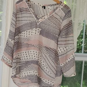Maurices pink and grey blouse size large